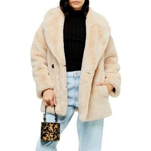 Topshop Coat Jacket 4-6 Ally Faux Fur Notched Lape